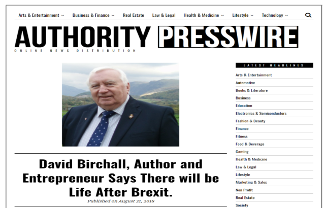 Authority Press Wire News Release by David Birchall