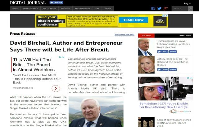 David Birchall Featured in The Digital Journal