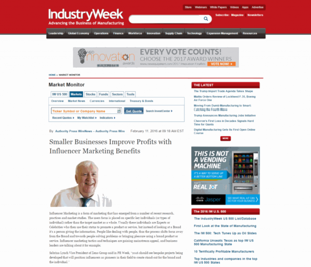 David Birchall featured in Industry Week